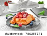 plate with yummy berry puff...   Shutterstock . vector #786355171