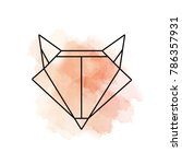 fox logo with watercolor... | Shutterstock .eps vector #786357931