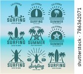 vintage surfing graphics and... | Shutterstock .eps vector #786362071