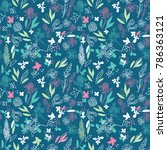 floral seamless pattern with...   Shutterstock .eps vector #786363121