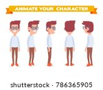 geek man for animation. front ... | Shutterstock .eps vector #786365905