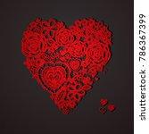 valentine heart. knitted... | Shutterstock .eps vector #786367399