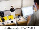 speaker giving presentation in... | Shutterstock . vector #786370321