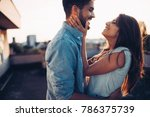 beautiful couple in love dating ... | Shutterstock . vector #786375739