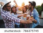 happy cheerful friends spending ... | Shutterstock . vector #786375745