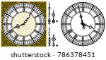 Vector Antique Old Clock With...