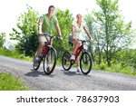 young smiling couple  riding ... | Shutterstock . vector #78637903
