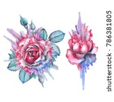 cute watercolor rose vignettes... | Shutterstock . vector #786381805