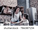 angry mother. serious young...   Shutterstock . vector #786387154