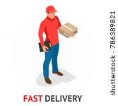 isomeric fast delivery concept. ... | Shutterstock .eps vector #786389821