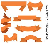 set of seven orange ribbons and ... | Shutterstock . vector #786391291