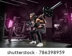 squats with a barbell in the... | Shutterstock . vector #786398959