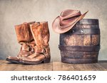 wild west old retro leather... | Shutterstock . vector #786401659