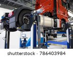 truck on a lift in a car... | Shutterstock . vector #786403984