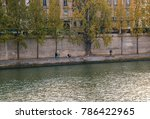 Small photo of Paris, France - October 16, 2005: Seine shore left. Embankment of Voltaire (Quai Voltaire).