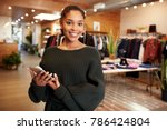 young hispanic woman smiling to ... | Shutterstock . vector #786424804