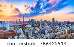 Cityscapes View Sunset Of Toky...