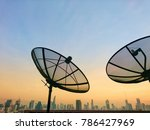 satellite dish with sky sunset...   Shutterstock . vector #786427969
