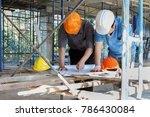 engineer discussing with... | Shutterstock . vector #786430084