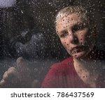 sad depresive woman looks...   Shutterstock . vector #786437569