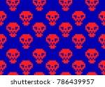 red pixel skulls on blue screen ... | Shutterstock .eps vector #786439957