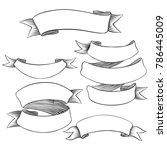 hand drawn vector blank scrolls ... | Shutterstock .eps vector #786445009