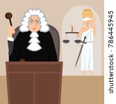 judge in mantle with lady... | Shutterstock .eps vector #786445945