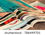 stack of magazines | Shutterstock . vector #786449701