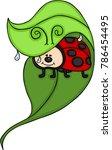 ladybug on leaf  | Shutterstock .eps vector #786454495