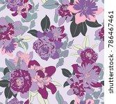 asian seamless vector botanical ... | Shutterstock .eps vector #786467461