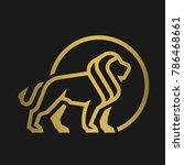 lion logo  emblem on a dark... | Shutterstock .eps vector #786468661