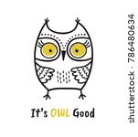 cute hand drawn owl with quote. ... | Shutterstock .eps vector #786480634