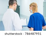 back view of doctor in white...   Shutterstock . vector #786487951