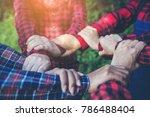farmer people join hand... | Shutterstock . vector #786488404