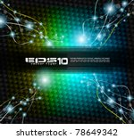 Abstract Rainbow Background with lightninngs over a carbon fibre backgrounds - stock vector
