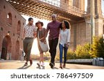 group of friends walking by... | Shutterstock . vector #786497509