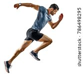 one caucasian man runner jogger ... | Shutterstock . vector #786498295