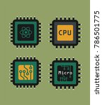 a set of icons of micro chips...