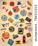 traveler suitcase with stickers | Shutterstock . vector #786511015