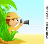 Photographer cartoon hunter in rain forest and desert. Vector illustration. - stock vector