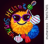 hello summer print on a dark... | Shutterstock .eps vector #786517651