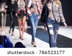 female models walk the runway... | Shutterstock . vector #786523177