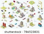 set of isometric city buildings.... | Shutterstock . vector #786523831