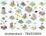set of isometric city buildings.... | Shutterstock . vector #786523834