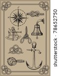 nautical elements on vintage... | Shutterstock .eps vector #78652750