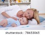 mother play on floor with her...   Shutterstock . vector #78653065