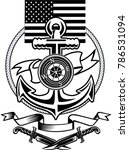marine corps anchor and usa flag | Shutterstock . vector #786531094