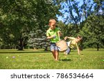 children collect easter eggs in ... | Shutterstock . vector #786534664