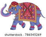 blue indian elephant decorated... | Shutterstock .eps vector #786545269