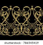 seamless pattern. golden... | Shutterstock . vector #786545419